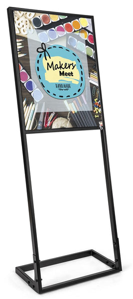 22x28 Poster Stand for Floor with SEG Fabric Custom Graphic, Steel Frame – Black (x2020) - Custom Allstars