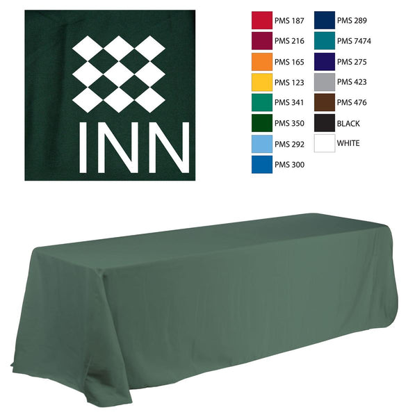 8' Table Cloth, Round Corners, with Custom 1 Color Imprint - Green (x2020) - Custom Allstars