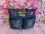 Bling Bag with multi pockets in denim - FREE SURPRISE GIFT