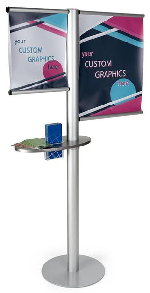 Double Sided Banner Stand w/ Custom Graphics, Oblong Shelf & Brochure Pocket - Silver (x2020) - Custom Allstars