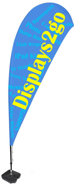 11' Custom Teardrop Flag with Water Base - 3 Color Printing (x2020) - Custom Allstars