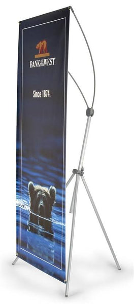 "Banner Stand with 35"" x 78"" Custom Graphic - Silver (x2020) - Custom Allstars"