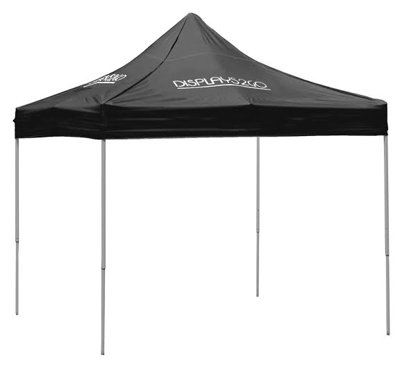 10 x 10 Outdoor Canopy Tent with 4 Custom Imprints, Pop-up, Square - Black (x2020) - Custom Allstars