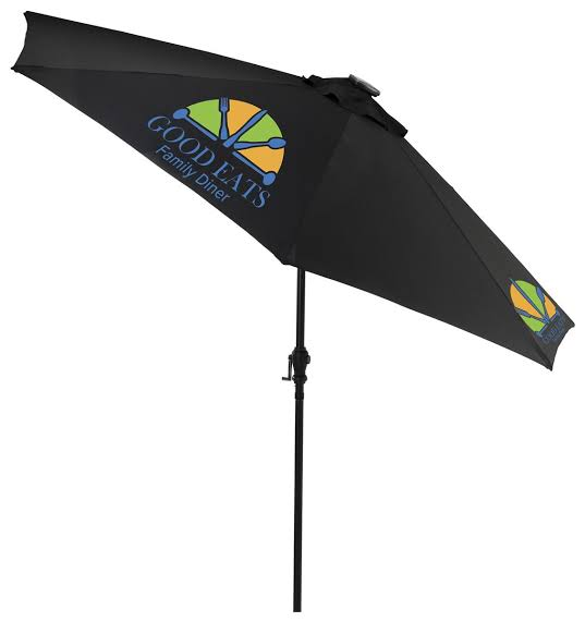 9' Patio Umbrella, 3 Color Printing and LED Lights, Solar Powered – Black (x2020) - Custom Allstars