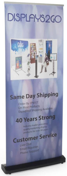 "Retractable Banner Stand with Custom Printed 33.5"" x 86.5 Vinyl Graphic - White (x2020) - Custom Allstars"