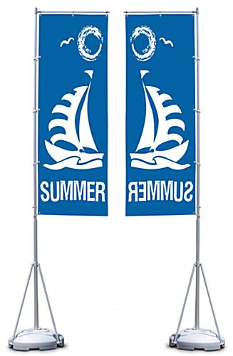 13' Banner Flag Stand with 1 Color Custom Printing, Single-sided (x2020) - Custom Allstars