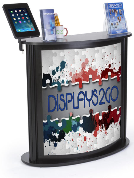 "41"" Tall Portable Counter w/ Clamp iPad Enclosure, Custom Graphic, Carry Bags - Black (x2020) - Custom Allstars"
