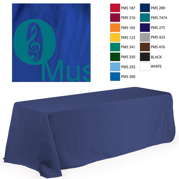 6' Table Cloth, Round Corners, with Custom 1 Color Imprint - Blue (x2020) - Custom Allstars