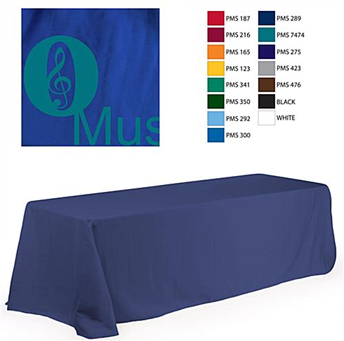 8' Table Cloth, Round Corners, with Custom 1 Color Imprint - Blue (x2020) - Custom Allstars