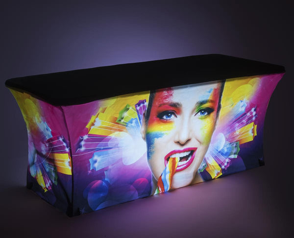 6' Stretch Table Cover, LED Ladder Lights, Folding Table Included – Custom Graphics (x2020) - Custom Allstars