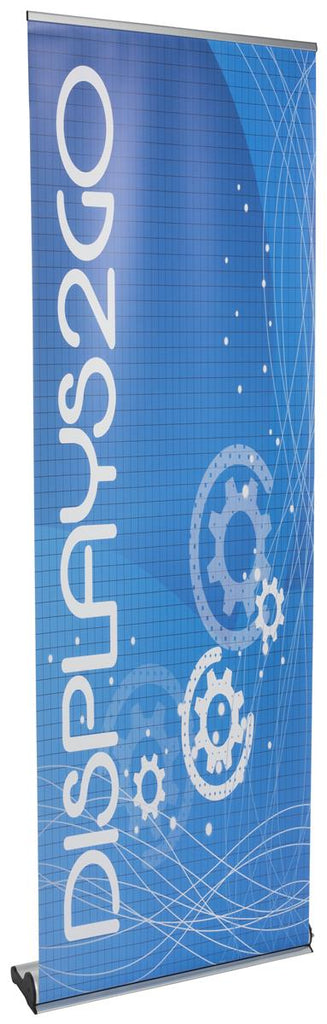 "Retractable Banner Stand w/ Custom 31"" x 90"" Graphic, Magnetic Connector - Silver (x2020) - Custom Allstars"