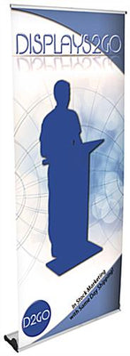"Retractable Banner Stand w/ Custom 39"" x 90"" Graphic, Magnetic Connector - Silver (x2020) - Custom Allstars"