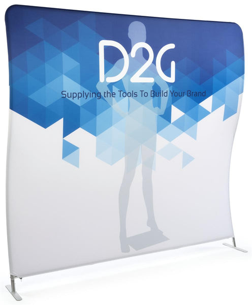 8' Trade Show Display with Custom Graphics, Wave Shaped, Portablee (x2020) - Custom Allstars