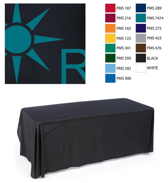 6' Table Cloth with 1 Color Imprint - Black (x2020) - Custom Allstars