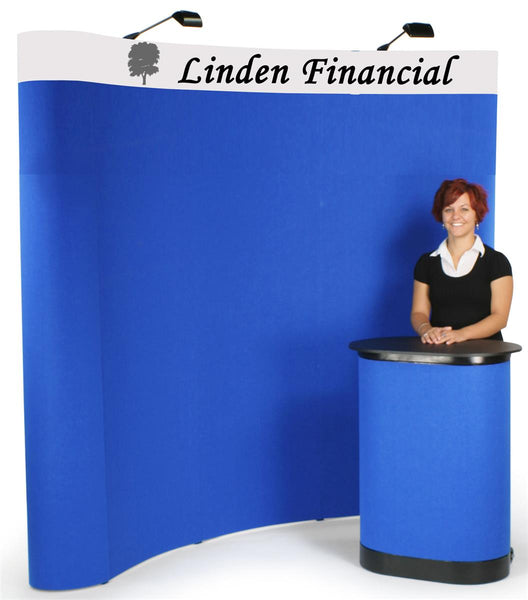 8' Curved Pop Up Display w/ Custom Header, 2 Spotlights & Portable Counter - Blue (x2020) - Custom Allstars