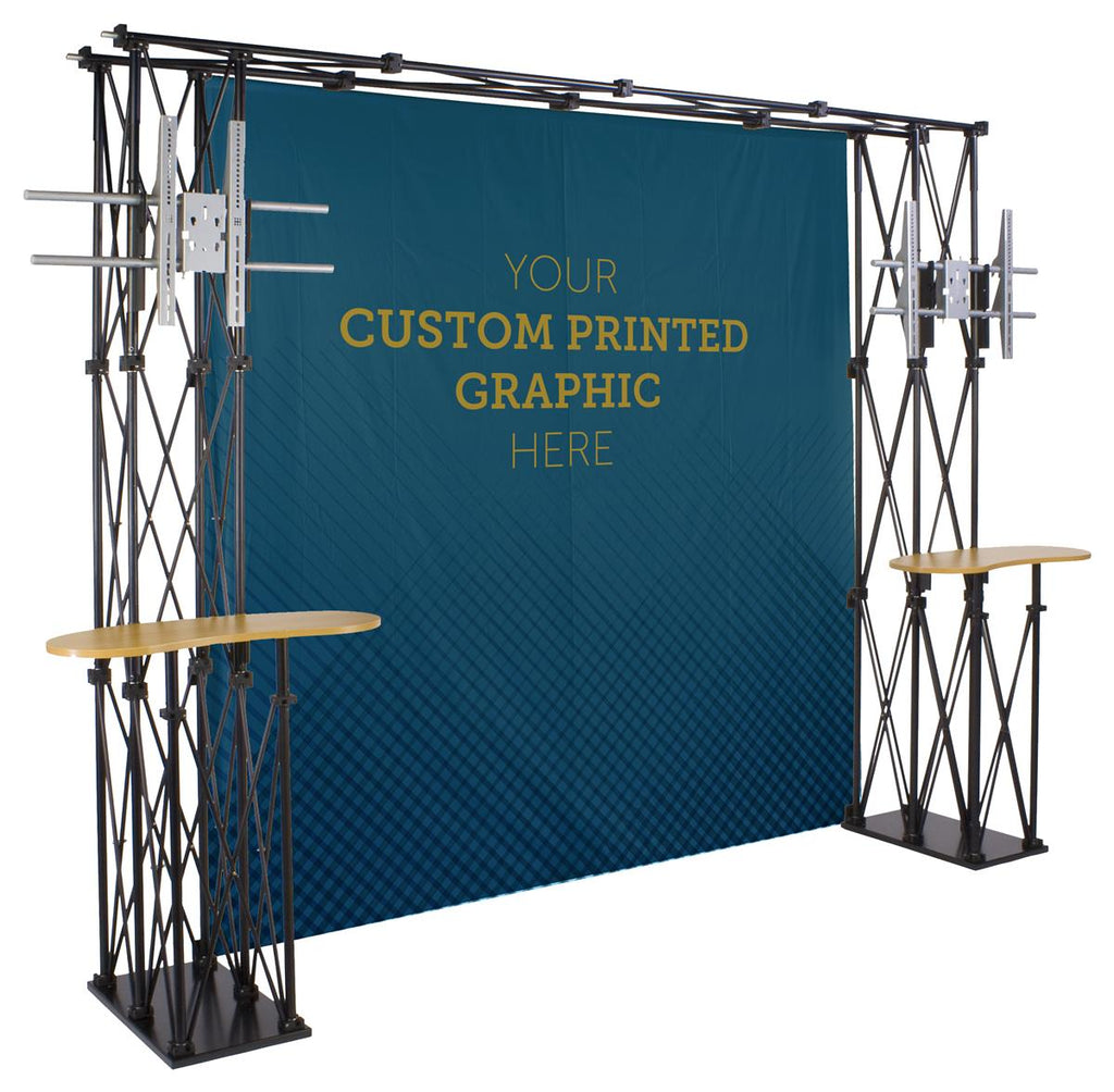 Trade Show Truss Booth w/ Custom Backdrop, Shelves, 2 Counters, 2 TV Mounts, Portable (x2020) - Custom Allstars
