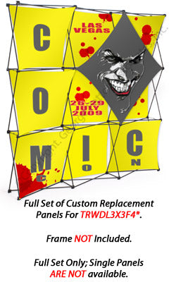 Set of 10 Replacement Panels for TRWDL3X3F Pop Up Display - Custom Printed Graphics (x2020) - Custom Allstars