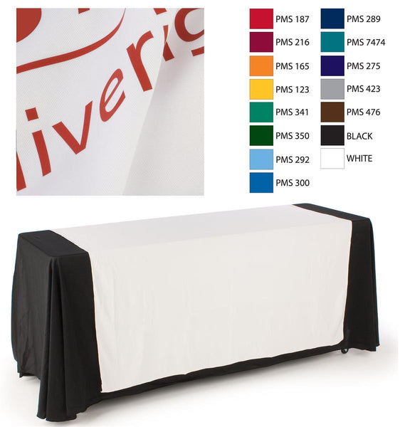 "60""w Logo Table Runner with 1 Color Printing - White (x2020) - Custom Allstars"