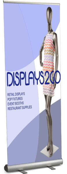 "Retractable Banner Stand with 31"" x 89"" Custom Printed Graphic - Silver (x2020) - Custom Allstars"