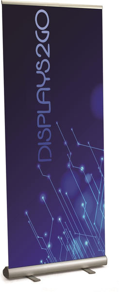 "Retractable Banner Stand with 47"" x 89"" Custom Printed Graphic - Silver (x2020) - Custom Allstars"