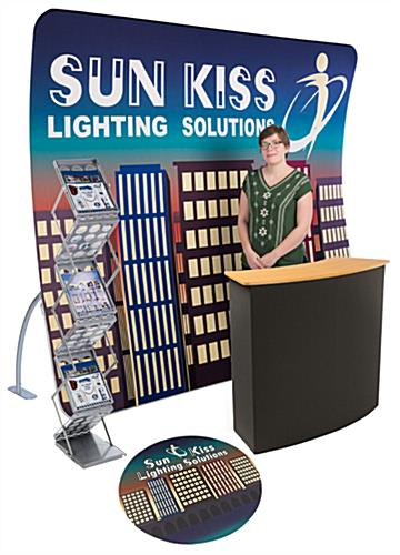 10' x 10' Trade Show Kit w/ 9' Curved Backwall, Counter, Literature Rack, Floor Decal (x2020) - Custom Allstars