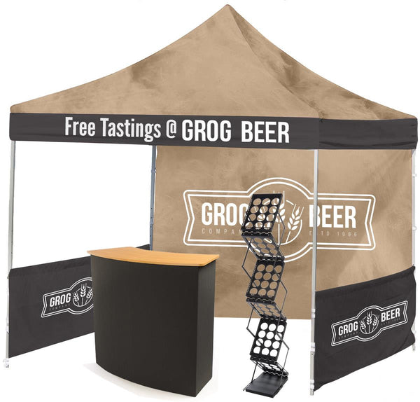 10' x 10' Trade Show Kit w/ Custom Tent, Portable Black Counter, Magazine Rack (x2020) - Custom Allstars