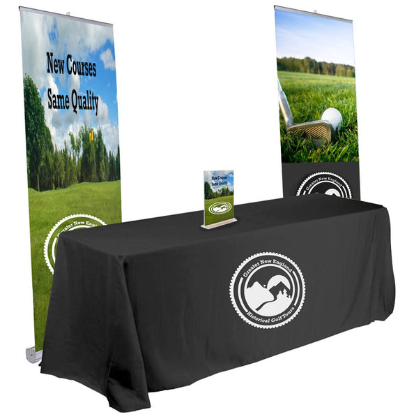 10' x 10' Trade Show Kit w/ 2 Custom-Printed Banners, 6' Table Throw & Sign Holder (x2020) - Custom Allstars