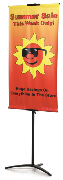 "Banner Stand with Custom 24""w Graphic, Adjustable Height, Single Sided - Black (x2020) - Custom Allstars"