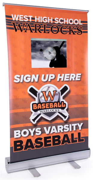 "Tabletop Banner Stand w/Custom 24x40 Graphic, Retractable, 12.9"" iPad Pocket - Silver (x2020) - Custom Allstars"