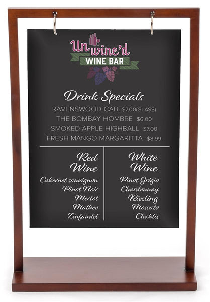 "8.5"" x 11"" Wooden Frame with Double-Sided Custom UV Printed Sign – Deep Brown (x2020) - Custom Allstars"