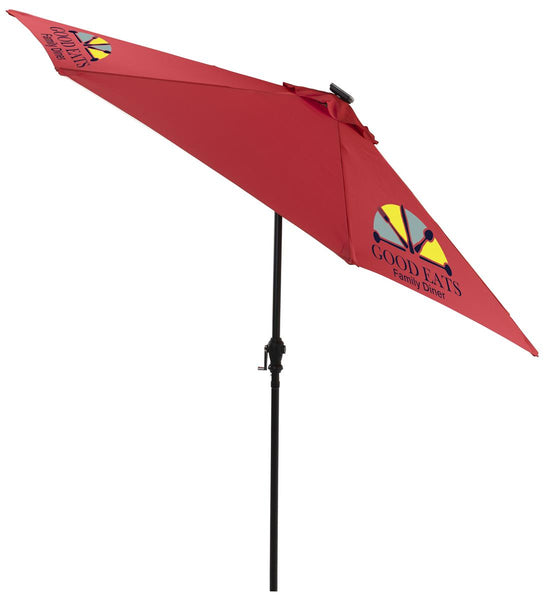 9' Patio Umbrella, 3 Color Printing and LED Lights, Solar Powered – Red (x2020) - Custom Allstars