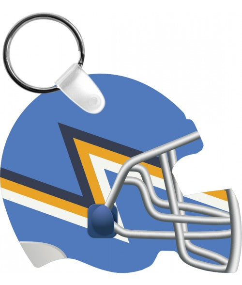 "UNISUB GLOSS WHITE 2-3/8"" X 2-3/4"" 2-SIDED ALUMINUM FOOTBALL HELMET KEY CHAIN (x2020) - Custom Allstars"