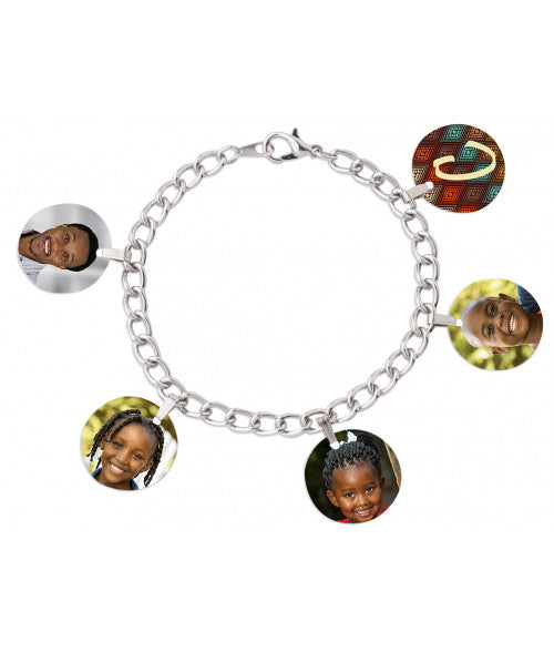 "UNISUB 7"" CHARM BRACELET WITH FIVE 3/4"" ROUND CHARMS AND BALES (x2020) - Custom Allstars"