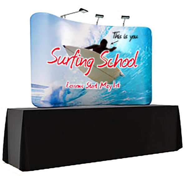 7.5'w Curved Tabletop Display with Custom Graphics, Portable (x2020) - Custom Allstars