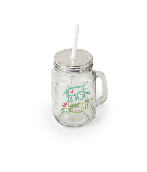 12OZ SQUARE CLEAR GLASS MASON JAR WITH HANDLE, LID AND STRAW (x2020) - Custom Allstars