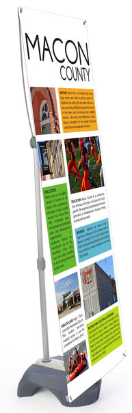 Outdoor Banner Stand with Custom Printed Graphics, Adjustable Height & Width - Gray (x2020) - Custom Allstars