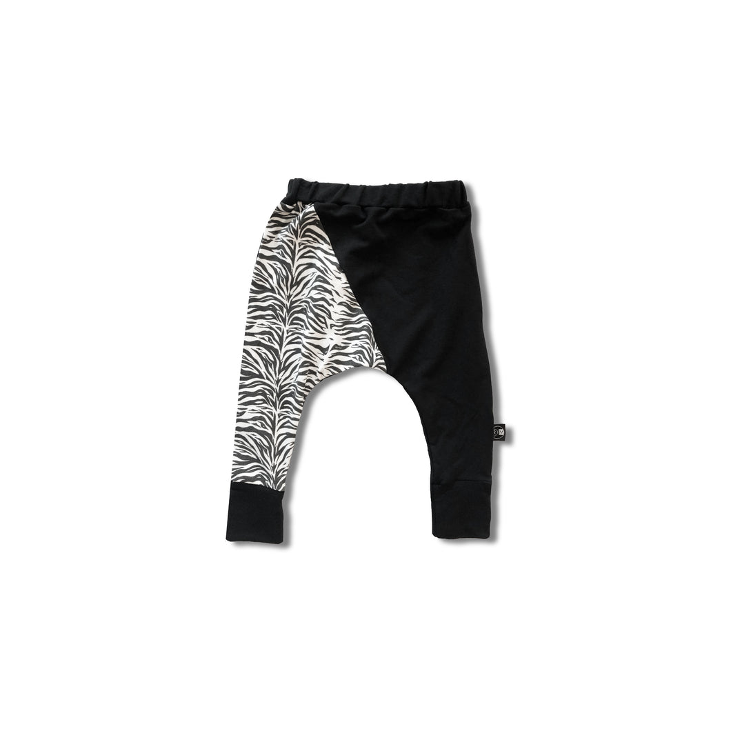 children's drop pant in black and zebra print