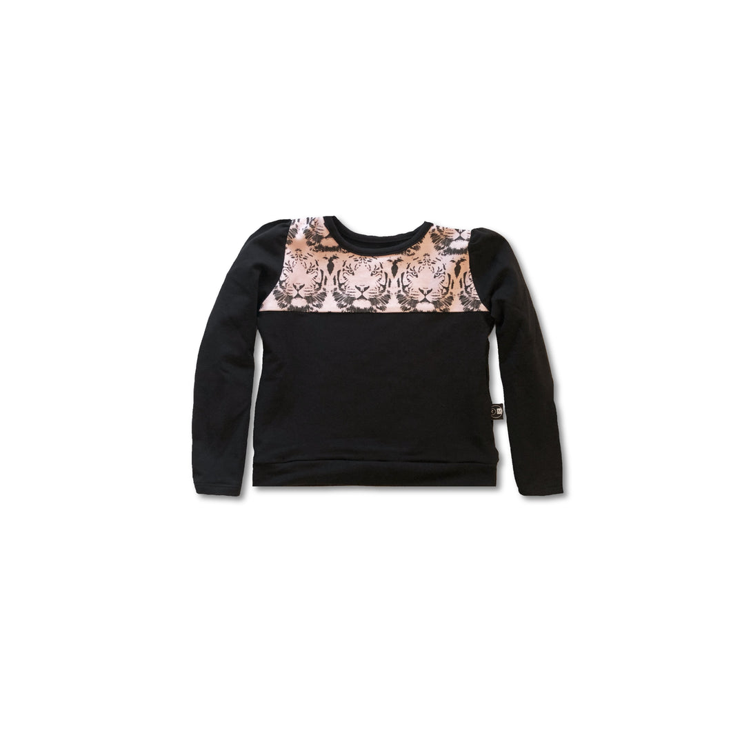 Puff Sleeve pullover – Black/tiger
