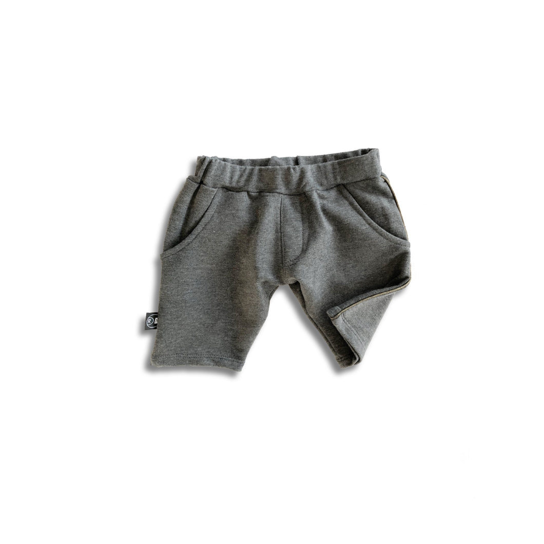 grey shorts with gold piping