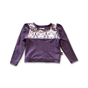 Puff sleeve Pullover – Plum/tigers