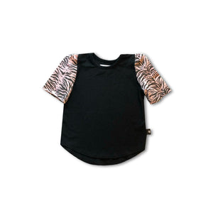 black children's t-shirt with pink zebra sleeves