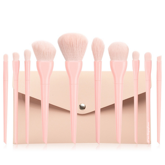 10 Pieces Summer Pink Make up Brushes w/ Pouch