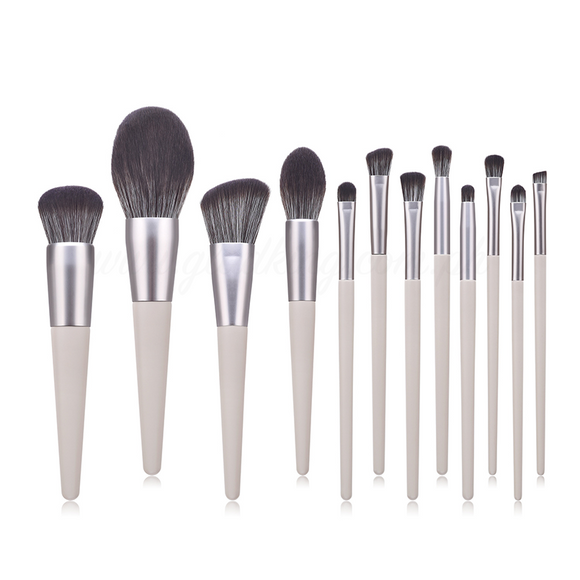 12 Pieces Milked Grey Brush Set