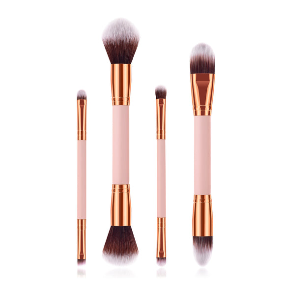 4 in 1 Rosegold Pink Duo Sided Brush Set