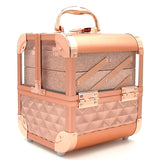 Rosegold Treasurer Makeup Box with Mirror & Vertical Glittery Layers