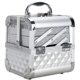 Silver Treasurer Makeup Box with Mirror & Vertical Glittery Layers