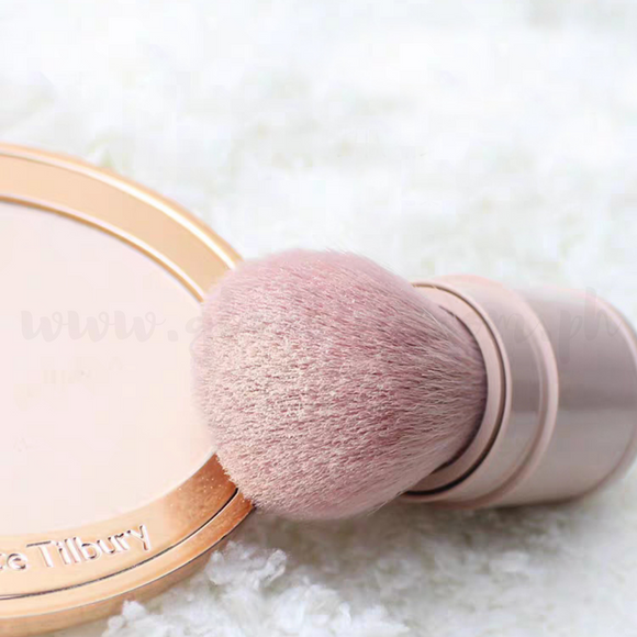 Portable Powder Kabuki Brush Crepe Pink w/ cap