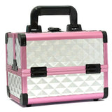 Portable Makeup Box with Mirror & Vertical Layers Diamond Silver