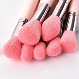 7 Pieces Elegant Pink Bristle Brush Set