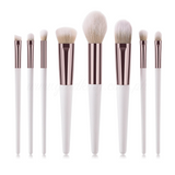 8 Pieces White Painted Creamy Bristle Brush Set
